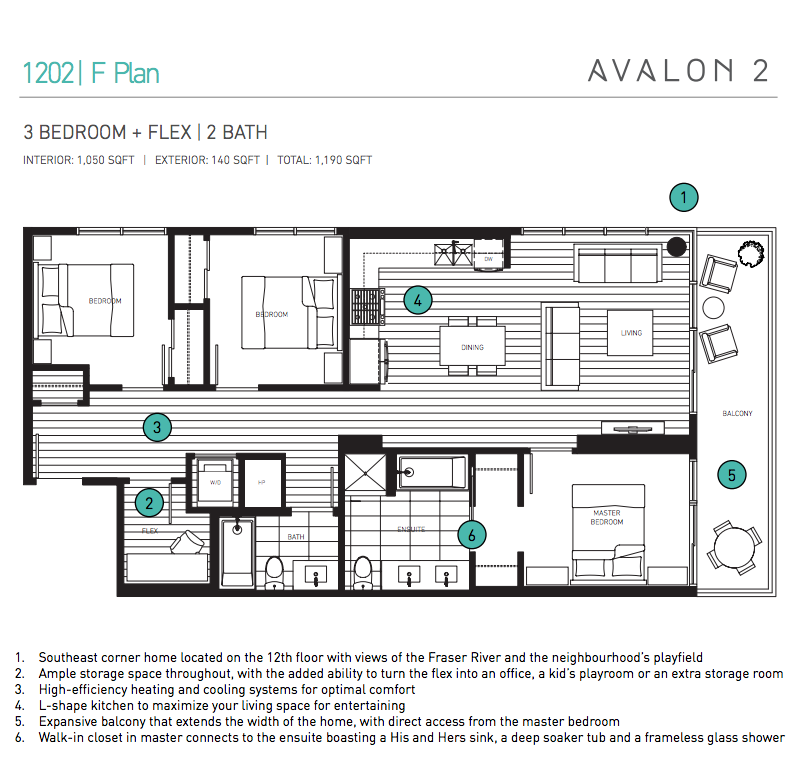 The efficient layout of home 1202 includes a walk in closet that connects  to the ensuite bathroom in the master  and an L shaped kitchen that  maximizes the. 3 Bed   Flex Family Size Home   River District   Vancouver